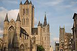 St Niklaaskerk - Nicholas Church, Belfort - Belfry, St Baakskathedraal - Bavo Cathedral, Ghent, Belgium, Europe