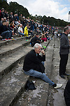 Harestanes AFC v Girvan FC, 15/08/2015. Scottish Cup preliminary round, Duncansfield Park. Spectators watching the first-half action as Harestanes AFC take on Girvan FC in a Scottish Cup preliminary round tie, staged at Duncansfield Park, home of Kilsyth Rangers. The home team were the first winners of the Scottish Amateur Cup to be admitted directly into the Scottish Cup in the modern era, whilst the visitors participated as a result of being members of both the Scottish Football Association and the Scottish Junior Football Association. Girvan won the match by 3-0, watched by a crowd of 300, which was moved from Harestanes ground as it did not comply with Scottish Cup standards. Photo by Colin McPherson.