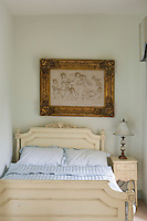 Close-up of French wooden bed