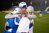 Katelyn Rowland (0) of UCLA celebrates with teammates after the NCAA Women's College Cup finals at WakeMed Soccer Park in Cary, NC.  UCLA defeated Florida State, 1-0, in overtime.