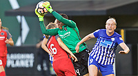Portland, OR - Saturday May 27, 2017: Adrianna Franch, Natasha Dowie during a regular season National Women's Soccer League (NWSL) match between the Portland Thorns FC and the Boston Breakers at Providence Park.