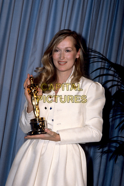 Actress Meryl Streep with her Oscar for Best Supporting Actress in &quot;Kramer Vs. Kramer&quot; at the 52nd Annual Academy Awards in Los Angeles on April 14th 1980. <br /> CAP/MPI/NBB<br /> &copy;NBB/MPI/Capital Pictures