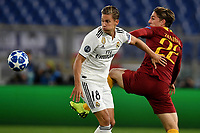 Marcos Llorente of Real Madrid and Nicolo Zaniolo of AS Roma compete for the ball during the Uefa Champions League 2018/2019 Group G football match between AS Roma and Real Madrid atOlimpico stadium , Rome, November, 27, 2018 <br />  Foto Andrea Staccioli / Insidefoto