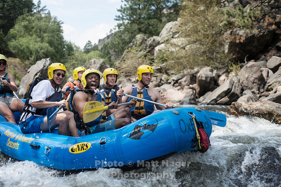 Rafters with Mountain Whitewater Descents on the Cache Le Poudre River near Fort Collins, Colorado, Friday, August 24, 2012. The worst drought since the 1950s is ricocheting through the economy, hitting everything from tractor sales in the Midwest to the ability of rafting companies in Colorado to run summer tours on low rivers.<br /> <br /> Photo by MATT NAGER