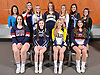 The 2017 Newsday All-Long Island cheerleading team poses for a group portrait during the All-Long Island photo shoot at company headquarters on Monday, March 27, 2017. FRONT ROW, FROM LEFT: Halle Rosen of Smithtown West, Kristen Flatley of Rocky Point, Britney Jahrmarkt of West Babylon and Danielle Klein of MacArthur. BACK ROW, FROM LEFT: Coach Brianne Hyer of West Babylon, Isabella Takacs of Mount Sinai, Olivia Mannarino of Hauppauge, Shannon Diesel of Bethpage, Lexi Toscano of Smithtown East, Brittany Reh of Rocky Point and Pam Franco of Seaford.
