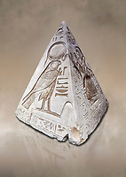 "Ancient Egyptian Pyramidion of Ramose North & East sides, Limestone, New Kingdom, 19th Dtnasty (1292-1190 BC), Dier el-Medina. Egyptian Museum, Turin. Old Fund cat 1603. <br /> <br /> The north face of the Ramose Pyramidion explains the attribute of Horus as the strong coronal electric field of the Sun gifting the Ankh as a support to Life. It reads ""Strong coronal electric field supporting the Sun, negative charge induction."""" Weak electric field is an attribute of the anode Sun.""""Electricity supporting life to core charge store God"".<br /> <br /> The east face of the Ramose Pyramidion shows the support for the structured plasma, her hands are held up representing the electric force on the perpendicular face to the North South axis of Horus, the strong coronal electric field. It reads"" Structured plasma watched, attribute supporting life projecting power (negative charge) to support charge store (celestial body) electrostatic resonance."""" Seek home structured plasma to land negative charge projection by God as lightning attribute support celestial body via connection giving movement and [light].""<br /> <br /> The limestone Pyramidion of Ramose, from the top of the tomb of the 'Necropolis Scribe'. Scenes on all four sides depict the worship of the sun."