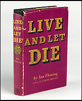 BNPS.co.uk (01202)558833<br /> Pic:  SwannAuctionGalleries/BNPS<br /> <br /> A first edition of Live and Let Die (1954) carries an estimate of £5,800. ($7,500).<br /> <br /> A single owner collection of historic James Bond first editions inscribed by Ian Fleming have emerged for sale for £55,000. ($70,000)<br /> <br /> The marquee lot is a first edition of Goldfinger (1959) given by the author to legendary golfer Sir Henry Cotton, who won The Open three times.<br /> <br /> Fleming references the chapters containing the classic golf match between Bond and the villain Auric Goldfinger, whose caddy was Oddjob, in the book.<br /> <br /> The collection of 13 books is being sold by a private collector with US based Swann Auction Galleries.