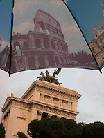 Cheesy souvenir umbrella & the Victor Emmanuel Monument, Rome.