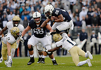 STATE COLLEGE, PA - SEPTEMBER 02:  Penn State RB Saquon Barkley (26) jumps over hurdles Akron CB Alvin Davis (1) during a long run. The Penn State Nittany Lions defeated the Akron Zips 52-0 on September 2, 2017 at Beaver Stadium in State College, PA. (Photo by Randy Litzinger/Icon Sportswire)