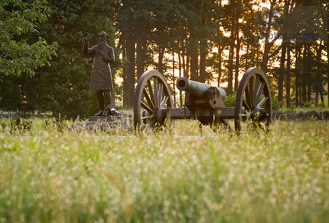 June 22, 2013; Statue of former Notre Dame president Rev. William Corby, C.S.C., Chaplain of the Irish Brigade, in Gettysburg National Military Park.<br /> <br /> Photo by Matt Cashore/University of Notre Dame