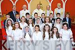 Pupils of Caherleaheen National School who received their First Holy Communion in the Church of the Immaculate Conception, Tralee on Saturday were front l-r: Muireann White, Jessica O'Connor, Kristina Flannery, Ella Curtin, Katie Moynihan, Saoirse Murphy. Middle l-r: Jennifer Lynch, Laura Talbot, Kate O'Donoghue, Ava Keohane, Ailbhe Ryle, Rebecca Hayes. Third l-r: Darragh O'Sullivan, Aidan O'Brien, Peter Kearns, Owen Healy, Killian O'Donoghue-Leahy, Ciara?n O'Leary, Simon Moynihan, Greg Byrne. Back l-r: Donal O'Connor (principal), Fr. Dan Aherne, Fr. Gerard Finnucane, Fr. Jack Heffernan and Fr. William Collins.