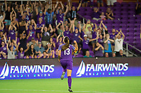 Orlando, FL - Tuesday August 08, 2017: Alex Morgan celebrates her goal during a regular season National Women's Soccer League (NWSL) match between the Orlando Pride and the Chicago Red Stars at Orlando City Stadium.