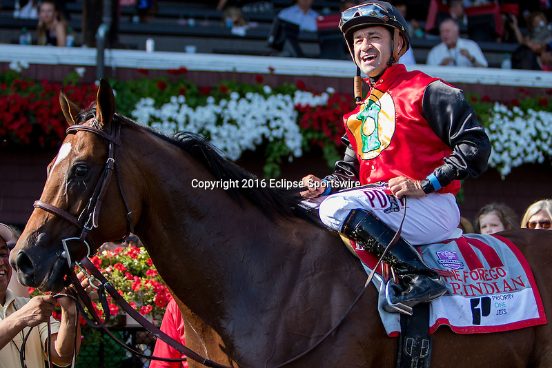 SARATOGA SPRINGS - AUGUST 27: Joe Bravo, aboard A.P. Indian #11, after winning the Priority One Jets Forego Stakes on Travers Stakes Day at Saratoga Race Course on August 27, 2016 in Saratoga Springs, New York. (Photo by Sue Kawczynski/Eclipse Sportswire/Getty Images)