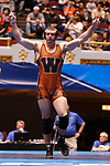 CLEVELAND, OH - MARCH 10: Jake Evans, of Waynesburg, celebrates hi swin in the 285 weight class during the Division III Men's Wrestling Championship held at the Cleveland Public Auditorium on March 10, 2018 in Cleveland, Ohio. (Photo by Jay LaPrete/NCAA Photos via Getty Images)