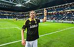 Solna 2014-07-24 Fotboll Europa League AIK - Linfield FC :  <br /> AIK:s Nils-Eric Johansson sjunger med AIK:s supportrar efter matchen<br /> (Foto: Kenta J&ouml;nsson) Nyckelord:  AIK Gnaget Friends Arena Linfield LFC Europa League Kval jubel gl&auml;dje lycka glad happy