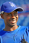 15 March 2008: Los Angeles Dodgers' outfielder Juan Pierre prepares to take batting practice prior to a Spring Training game against the Washington Nationals at Space Coast Stadium, in Viera, Florida...Mandatory Photo Credit: Ed Wolfstein Photo