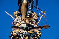 Gerechtigkeitsbrunnen in der Gerechtigkeitsgasse in Bern,Schweiz,  Unesco-Weltkulturerbe