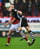 Lincoln City's Sean Raggett vies for possession with Rotherham United's Kieffer Moore<br /> <br /> Photographer Chris Vaughan/CameraSport<br /> <br /> The Carabao Cup First Round - Rotherham United v Lincoln City - Tuesday 8th August 2017 - New York Stadium - Rotherham<br />  <br /> World Copyright &copy; 2017 CameraSport. All rights reserved. 43 Linden Ave. Countesthorpe. Leicester. England. LE8 5PG - Tel: +44 (0) 116 277 4147 - admin@camerasport.com - www.camerasport.com