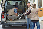 Staff of International Orthodox Christian Charities unload food for families in a settlement of Syrian refugees in Minyara, a village in the Akkar district of northern Lebanon. Lebanon hosts some 1.5 million refugees from Syria, yet allows no large camps to be established. So refugees have moved into poor neighborhoods or established small informal settlements in border areas. A member of the ACT Alliance, IOCC provides a variety of support for families in this settlement.