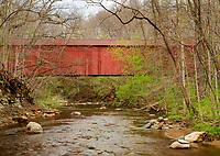 The Rob Roy Covered Bridge sits on a small local road and crosses the Big Shawnee Creek in Fountain County, Indiana
