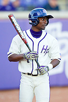 Sly Edwards (1) of the High Point Panthers waits for his turn to bat against the Liberty Flames at Willard Stadium on March 23, 2013 in High Point, North Carolina.  The Panthers defeated the Flames 9-3.  (Brian Westerholt/Four Seam Images)