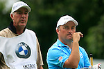 Damien McGrane (IRL) waits to tee off with caddy John Hort on the 11th tee  during Day 2 of the BMW Italian Open at Royal Park I Roveri, Turin, Italy, 10th June 2011 (Photo Eoin Clarke/Golffile 2011)