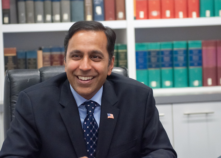 UNITED STATES - AUGUST 5: Raja Krishnamoorthi, Democrat candidate for Illinois' 8th Congressional district, is interviewed in the Roll Call offices on August 5, 2015. (JM Rieger/CQ Roll Call)