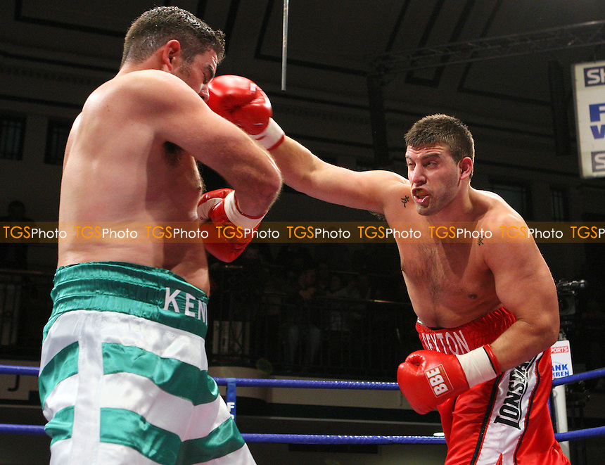 Sam Sexton (Norwich, red shorts) defeats Colin Kenna (Southampton, green/white shorts) in a Heavyweight boxing contest for the British Southern Area Title at York Hall, Bethnal Green promoted by Frank Warren / Sports Network - 21/11/08 - MANDATORY CREDIT: Gavin Ellis/TGSPHOTO - Self billing applies where appropriate - 0845 094 6026 - contact@tgsphoto.co.uk - NO UNPAID USE.