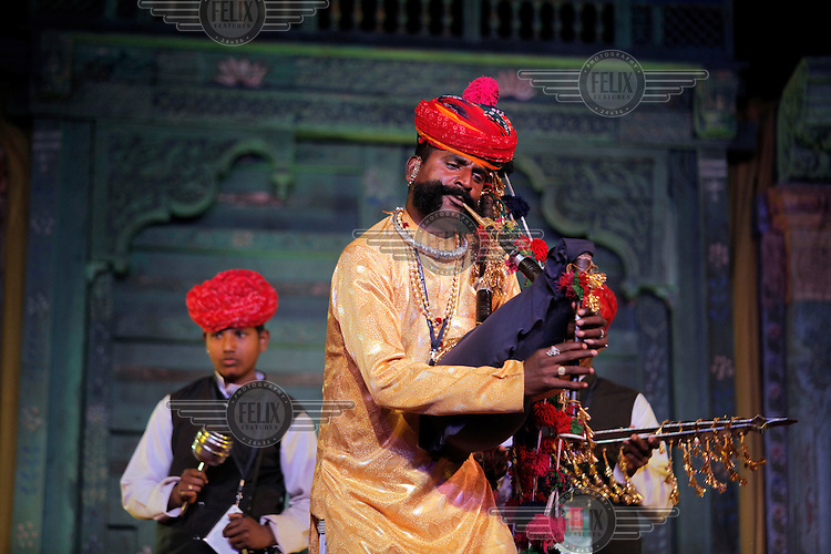 Musicians playing at the Jaipur Literature Festival. It is considered Asia-Pacific's leading literature event and a celebration of national and international writers and encompasses a range of activities including poetry, music & dance, debates, readings, impassioned panel discussions and workshops.