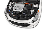 Car stock 2015 Hyundai Sonata  Hybrid 4 Door Sedan engine high angle detail view