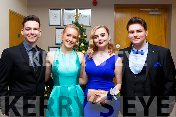 Josh McQuire (Ballyheigue), Rachel Deasy (Tralee), Roksana Mucaj (Tralee) and Kacpar Korol (Tralee)  attending the Mercy Mounthawk debs in the Ballyroe Heights Hotel on Thursday night last.