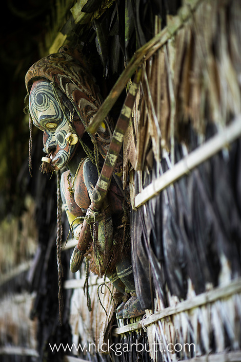 Traditional carvings on a Spirit House or Haus Tambaran. Yamok Village, East Sepik Province, Papua New Guinea. June