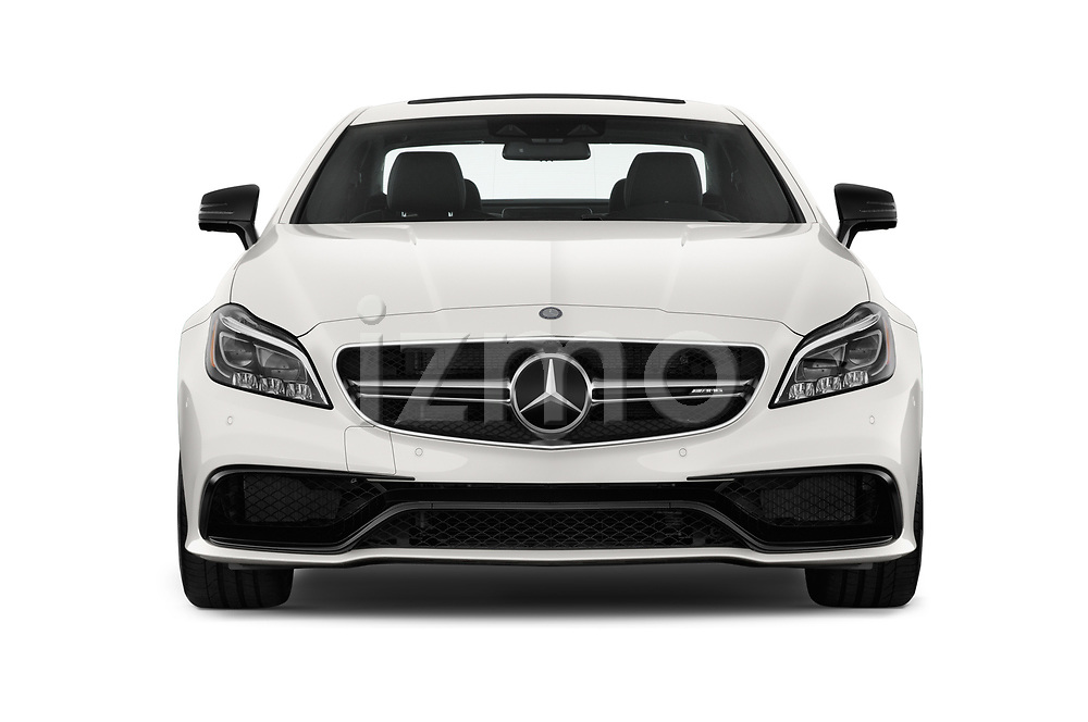 Car photography straight front view of a 2018 Mercedes Benz CLS-Class AMG-CLS63-4MATIC 4 Door Sedan Front View