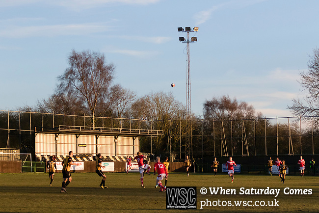 Rushall Olympic 1 Workingon 0, 17/02/2018. Dales Lane, Northern Premier League Premier Division. Scaffolding and nets around the Dales Lane ground to prevent balls being lost. Photo by Paul Thompson. Rushall Olympic 1 Workingon 0, Northern Premier League Premier Division, 17th February 2018. Rushall is a former mining village now part of the northern suburbs of Walsall.