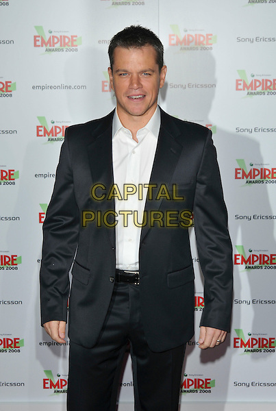 MATT DAMON.At the Empire Film Awards,.Grosvenor House Hotel, London, England, March 9th 2008..half length grey black suit white shirt.CAP/PL.?PL/Capital Pictures