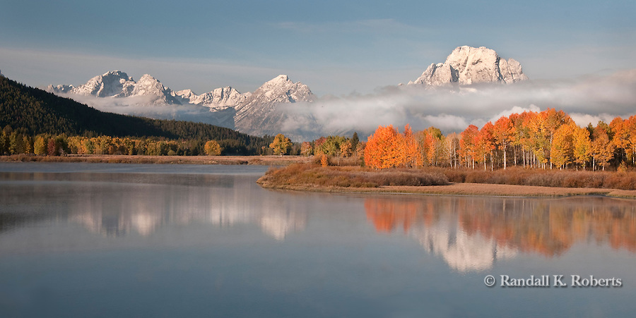 A cool autumn morning highlights changing aspens at Oxbow Bend, Grand Teton National Park, Wyoming