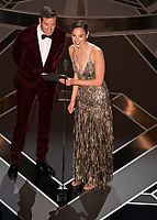 Gal Gadot and Armie Hammer present the Oscar&reg; for achievement in makeup during the live ABC Telecast of The 90th Oscars&reg; at the Dolby&reg; Theatre in Hollywood, CA on Sunday, March 4, 2018.<br /> *Editorial Use Only*<br /> CAP/PLF/AMPAS<br /> Supplied by Capital Pictures