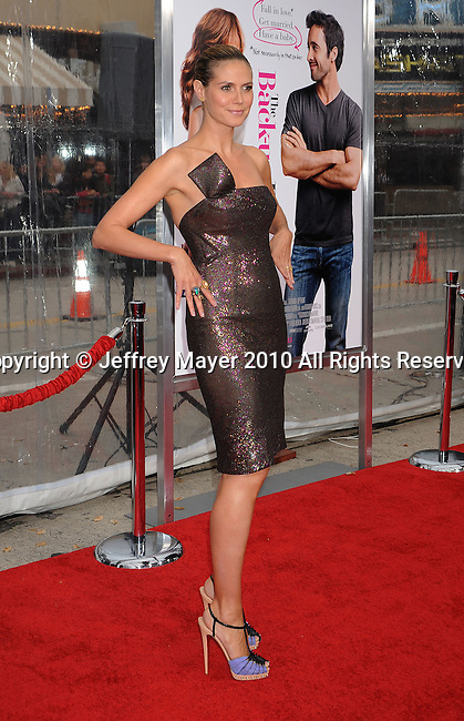 """WESTWOOD, CA. - April 21: Heidi Klum attends the """"The Back-Up Plan"""" Los Angeles Premiere at Regency Village Theatre on April 21, 2010 in Westwood, California."""