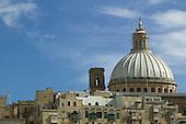 Carmelite church (dome) in Valletta, Malta, as seen from Marsamxett Harbour