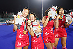 (L to R) <br />  Maho Segawa, <br />  Yui Ishibashi (JPN), <br /> AUGUST 31, 2018 - Hockey : <br /> Women's Final match <br /> between Japan 2-1 India  <br /> at Gelora Bung Karno Hockey Field <br /> during the 2018 Jakarta Palembang Asian Games <br /> in Jakarta, Indonesia. <br /> (Photo by Naoki Morita/AFLO SPORT)