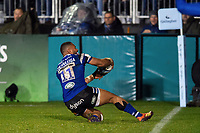 Joe Cokanasiga of Bath Rugby scores a try in the second half. Gallagher Premiership match, between Bath Rugby and Sale Sharks on December 2, 2018 at the Recreation Ground in Bath, England. Photo by: Patrick Khachfe / Onside Images