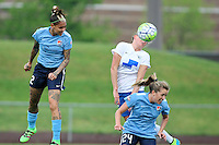 Piscataway, NJ - Friday May 13, 2016: Sky Blue FC forward Tasha Kai (32) and midfielder Kelly Conheeney (24) goes up for a header with Boston Breakers defender Kassey Kallman (5) during a regular season National Women's Soccer League (NWSL) match at Yurcak Field.