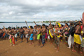"Altamira, Brazil. ""Xingu Vivo Para Sempre"" protest meeting about the proposed Belo Monte hydroeletric dam and other dams on the Xingu river and its tributaries. Kayapo Indians against the dam."