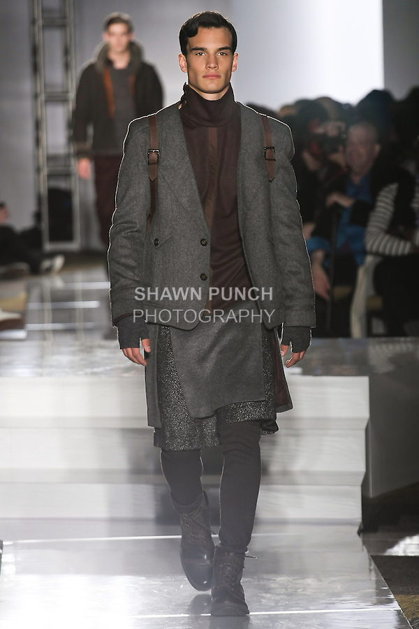 Model walks runway in an outfit by T. Young Hwang, for the Parsons 2011 BFA Fashion Show, hosted by Reed Krakoff.