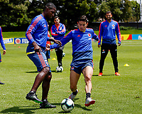 BOGOTA, COLOMBIA - JUNE 5: Colombia's James Rodriguez (R), fights for the ball with Cristian Zapata (L), during a training session of the national soccer teamon June 5, 2019 in Bogota, Colombia. Colombia will face Argentina, Paraguay and Qatar on their first stage of the Copa America Brazil 2019.   (Photo by VIEWPRESS/Leonardo Muñoz)