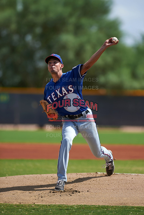 Texas Rangers pitcher Sal Mendez (93) during an instructional league game against the Seattle Mariners on October 5, 2015 at the Surprise Stadium Training Complex in Surprise, Arizona.  (Mike Janes/Four Seam Images)