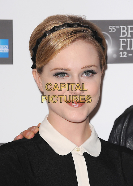 Evan Rachel Wood.Photocall ahead of the The 55th BFI London Film Festival screening of 'The Ides Of March', Odeon West End, London, England..October 19th 2011.LFF headshot portrait black white collar alice band .CAP/BEL.©Tom Belcher/Capital Pictures.