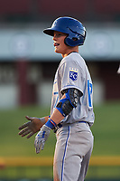 AZL Royals Bobby Witt, Jr. (17) motions to his team's bench after getting a hit during his professional debut in an Arizona League game against the AZL Cubs 1 on June 30, 2019 at Sloan Park in Mesa, Arizona. AZL Royals defeated the AZL Cubs 1 9-5. (Zachary Lucy / Four Seam Images)