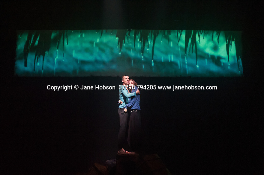 London, UK. 20.06.2014. Belarus Free Theatre present RED FOREST at the Young Vic theatre. Picture shows: Pavel Haradnitski and Nastassia Shcherbakm. Photograph © Jane Hobson.