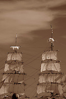 "Masts and sails of barque ""Europa"" billowing in the wind at Tall Ships Festival 2002, Steveston BC"